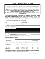 community service approval form - Pope John Paul II Catholic High ...