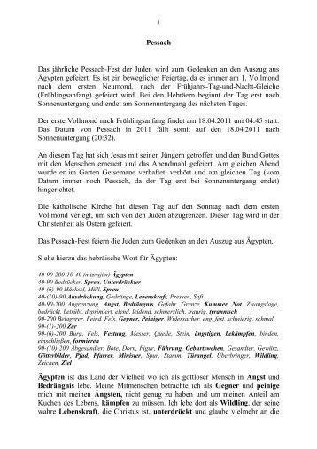 Pessach Das jährliche Pessach-Fest der Juden wird ... - Key of Life