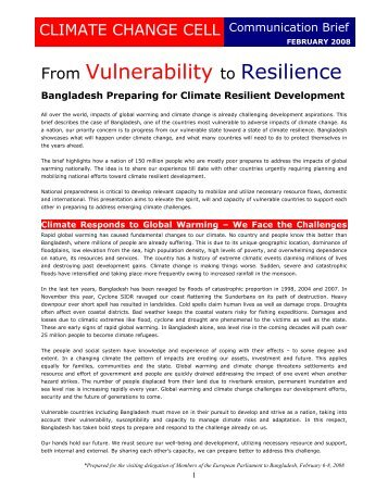 From Vulnerability to Resilience - Climate Change and Bangladesh