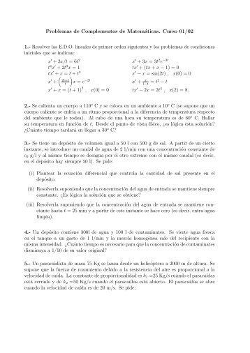 Problemas de Complementos de Matemáticas. Curso 01/02 1 ...