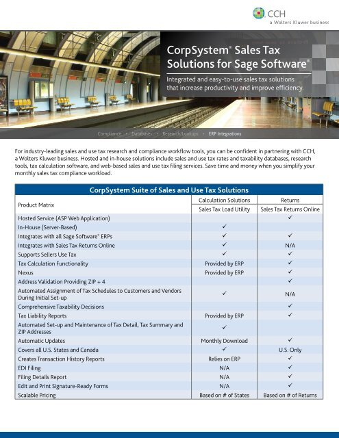 CorpSystem® Sales Tax Solutions for Sage Software® - CCH