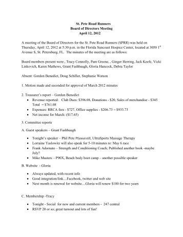 St. Pete Road Runners Board of Directors Meeting April 12, 2012 A ...