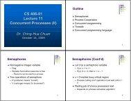 CS 406-01 Lecture 11 Concurrent Processes (II)