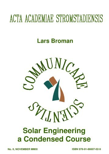 Solar Engineering a Condensed Course