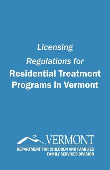 Licensing Regulations for Residential Treatment Programs