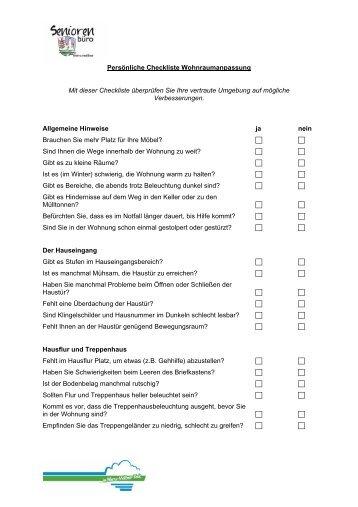 Persönliche Checkliste Wohnraumanpassung Mit dieser Checkliste ...