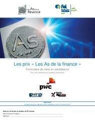 Les prix « Les As de la finance » - FEI Canada