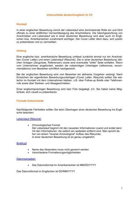 Unterschiede Deutschenglisch Im Cv Visa Business Services