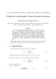 Coefficient ConditionsFor Certain Univalent Functions 1 ... - EMIS