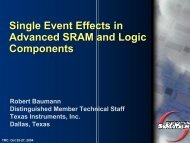 Single Event Effects in Advanced SRAM and Logic ... - Sematech