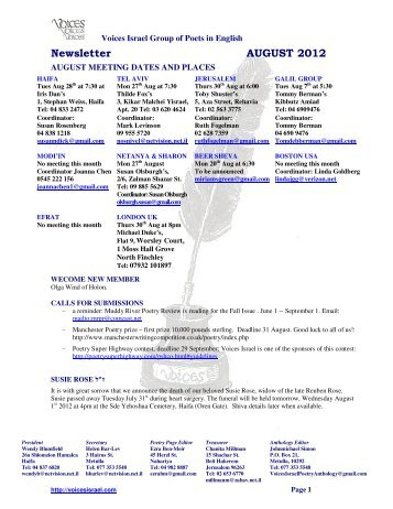 Newsletter AUGUST 2012 - Voices Israel Poetry