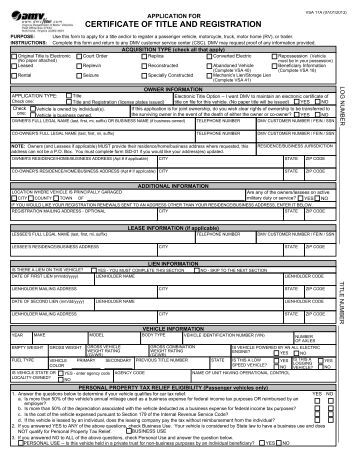 Kansas motor vehicle title for Virginia department of motor vehicle