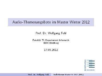 Audio-Themenangebote im Master Winter 2012 - OE - HAW Hamburg