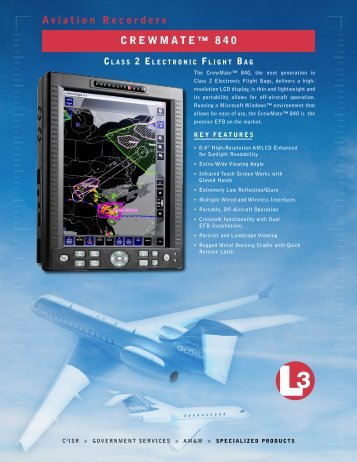 Crewmate 840 Class II Electronic Flight Bag - L-3 Aviation Recorders