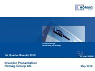 Interim report presentation Q1/2010 - HOMAG Group