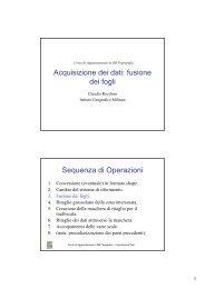Acquisizione dei dati: fusione dei fogli Sequenza di Operazioni