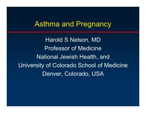 Asthma and pregnancy-Nelson - World Allergy Organization