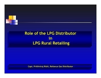 Role of the LPG Distributor in LPG Rural Retailing - pptfun