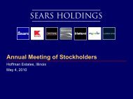 Annual Meeting of Stockholders - Sears Holdings Corporation