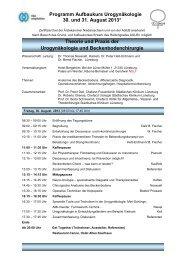 Programm Aufbaukurs Urogynäkologie 30. und 31. August 2013