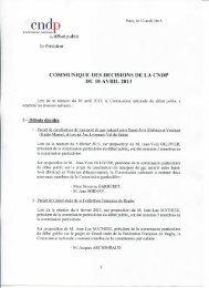 communique des decisions de la cndp du 10 avril 2013