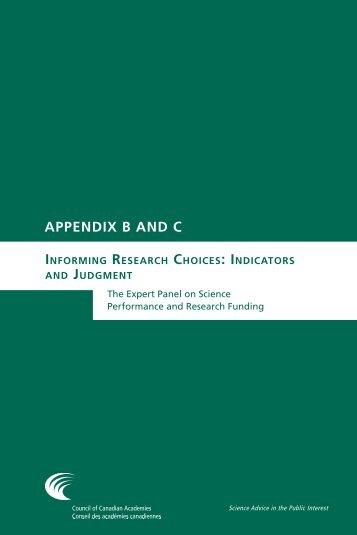 Appendices - Council of Canadian Academies
