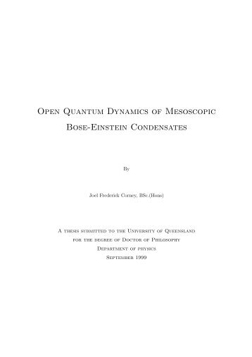 Open Quantum Dynamics of Mesoscopic Bose-Einstein ... - Physics