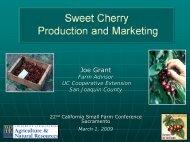 Sweet Cherry Production and Marketing - University of California ...