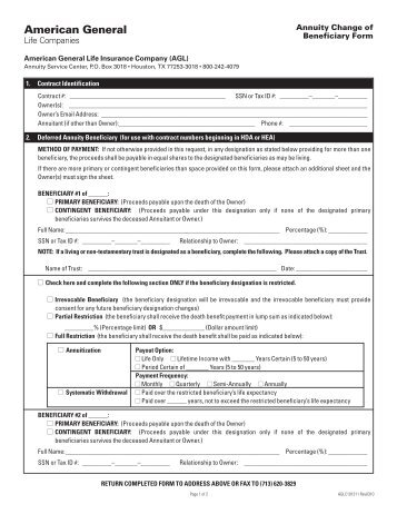National Life Beneficiary Agreement Request (Change Form)