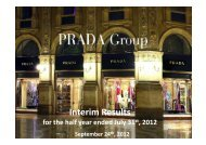 1H 2012 Results Presentation. - Prada Group
