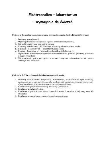 wymagania do ćwiczeń - Zakład Chemii Analitycznej