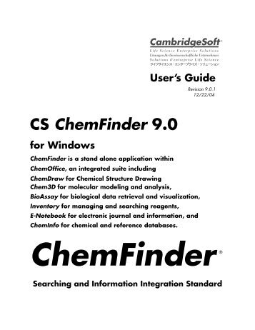 ChemFinder User's Manual - CambridgeSoft