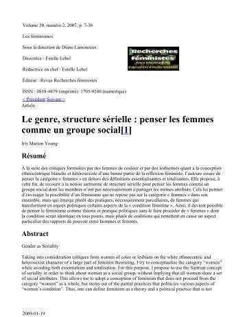 Le genre, structure sérielle - Institut de recherches et d'études ...