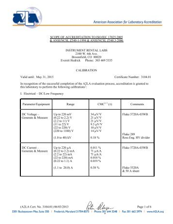 scope of accreditation to iso/iec 17025:2005 & ansi/ncsl z540-1 ...
