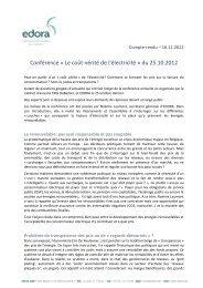 Conférence « Le coût-vérité de l'électricité » du 25.10.2012 - Edora
