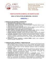 tematica pentru examenul de fiziopatologie 2012-2013