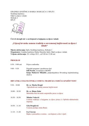Program okruglog stola - Gradska knjižnica Marka Marulića