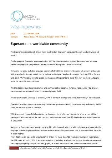a worldwide community - Esperanto Association of Britain