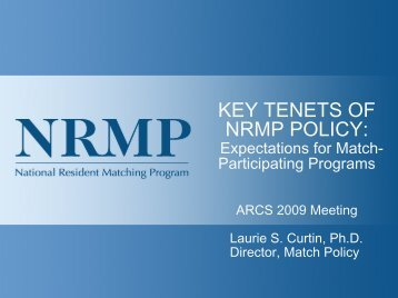 key tenets of nrmp policy - Association of Program Directors in Surgery