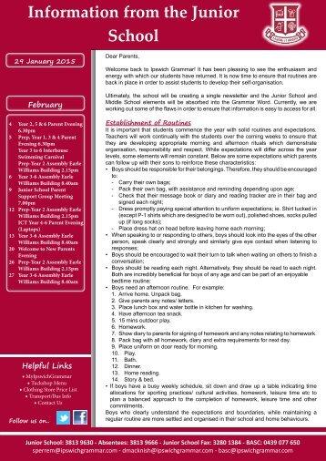 Junior School Bulletin - Ipswich Grammar School