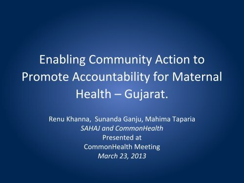 Enabling Community Action to Promote ... - CommonHealth