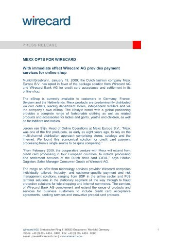 MEXX OPTS FOR WIRECARD With immediate effect Wirecard AG ...