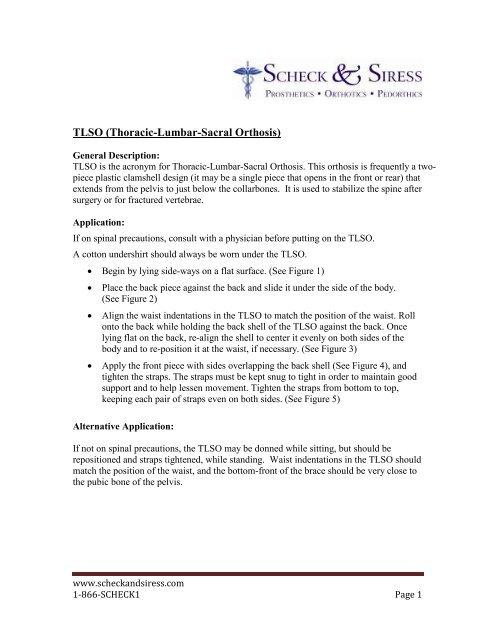 TLSO (Thoracic-Lumbar-Sacral Orthosis) - Scheck & Siress