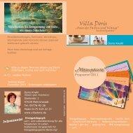 6. + 7. Nov. 2010 6. + 7. Nov. 2010 NEU eröffnet! - Villa Doris