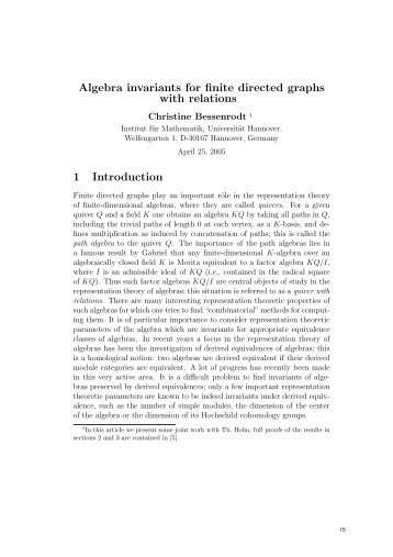 Algebra invariants for finite directed graphs with relations 1 ...