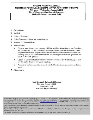 7:00 pm – Wednesday, August 1, 2012 City of Monte - Monterey ...