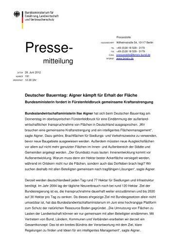 Deutscher Bauerntag: Aigner kämpft für Erhalt der Fläche