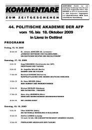 44. POLITISCHE AKADEMIE DER AFP vom 16. bis 18. Oktober ...