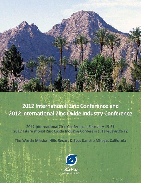 2012 International Zinc Conference and 2012 International Zinc