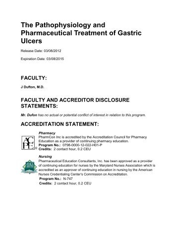 The Pathophysiology and Pharmaceutical Treatment of Gastric Ulcers